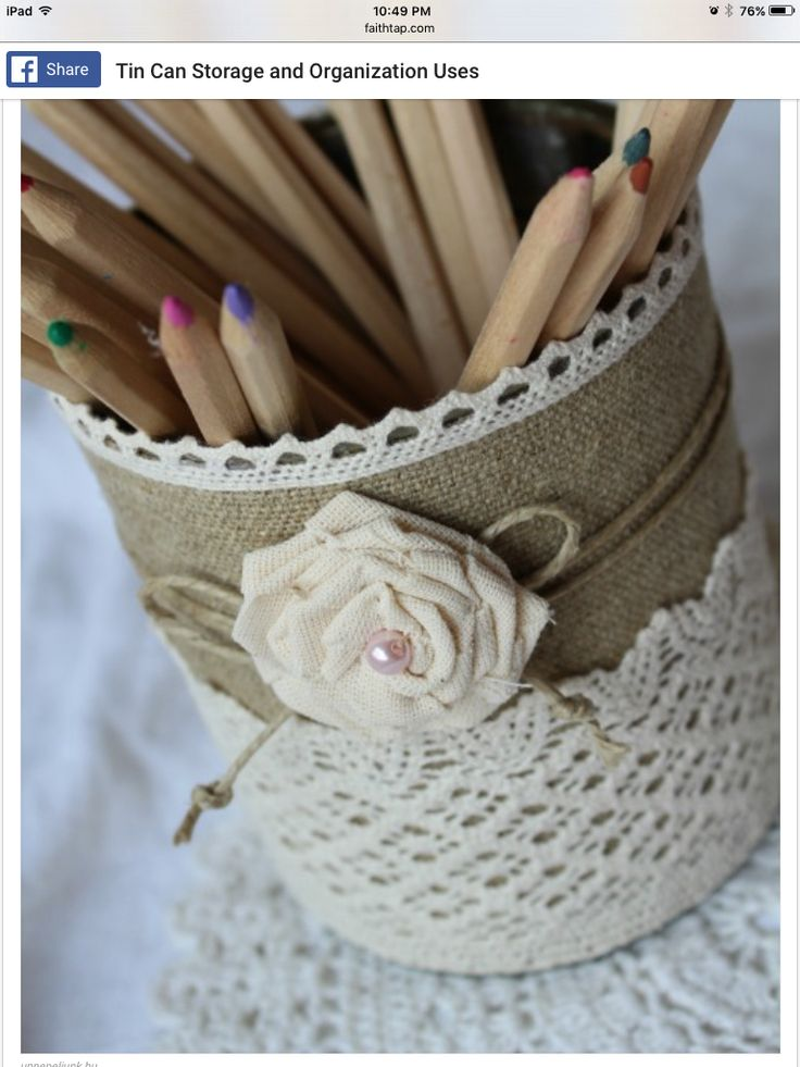 Tin cans with burlap and lace for storage