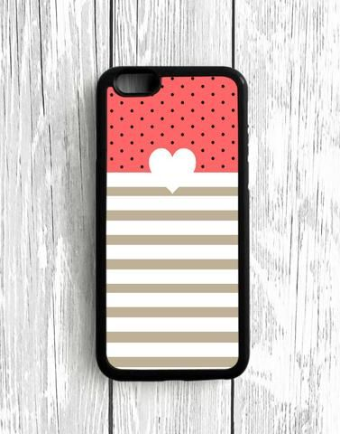 Polkadot Light Pink Stripes Heart iPhone SE Case