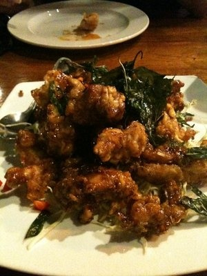 Crispy garlic chicken from Bai Tong Thai restaurant. It's one of the ...