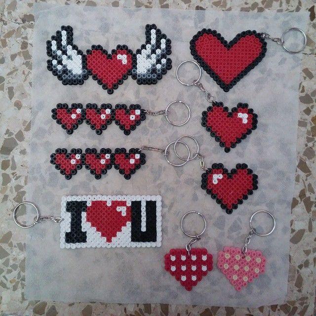 Valentines Day keychains hama beads by mariamagikarp
