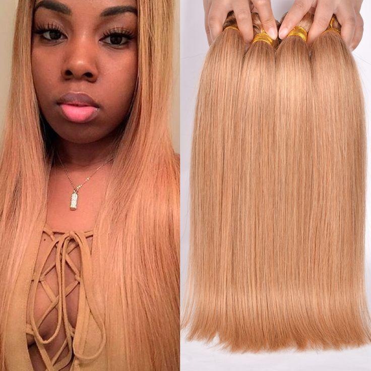 7A New Honey Blonde Hair 4 Bundles Peruvian Virgin Hair Straight Blonde Virgin Hair Cheap 27# Color Blonde Bundles Gossip Girl