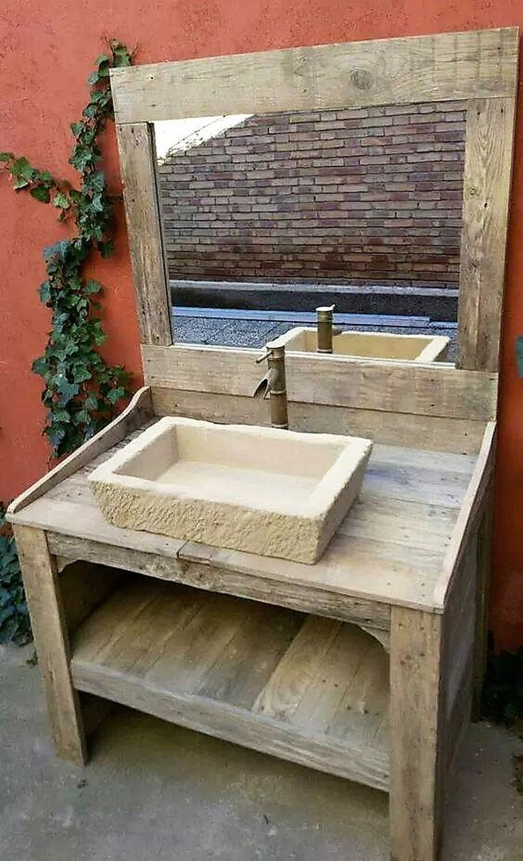 This rustic pallet wood wash basin sink along with clay vanity and antique classic faucet is in itself a beauty. Apparently it is a mere wash basin, but the simplicity and antique design makes it a master piece of art and great depiction of traditions and culture. It will surely amaze your guests.