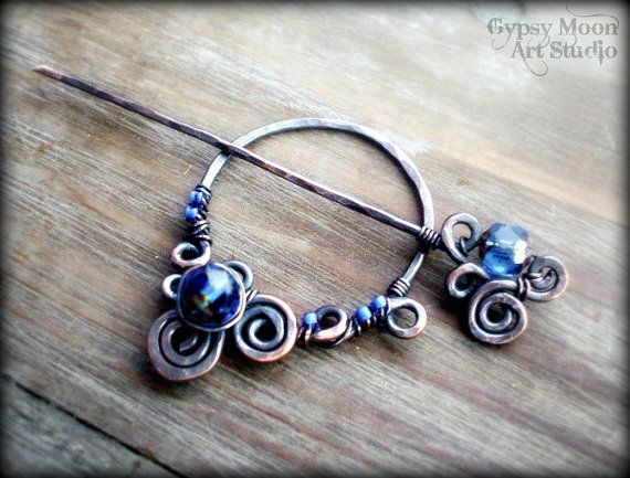 Copper Shawl Pin- Wire Wrapped Copper Sapphire Blue Brooch Scarf Pin Fall Fashion