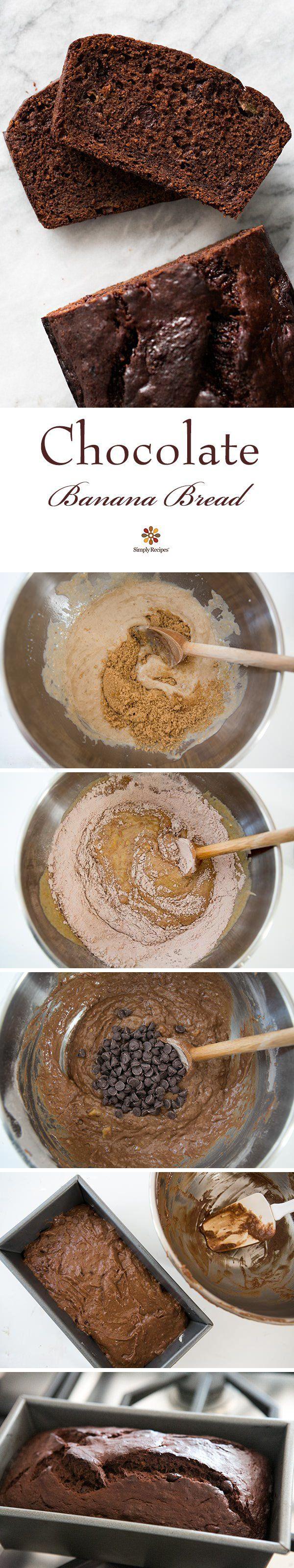 Chocolate Banana Bread ~ Tender, chocolatey chocolate banana bread! Double chocolate with cocoa and chocolate chips. ~ SimplyRecipes.com
