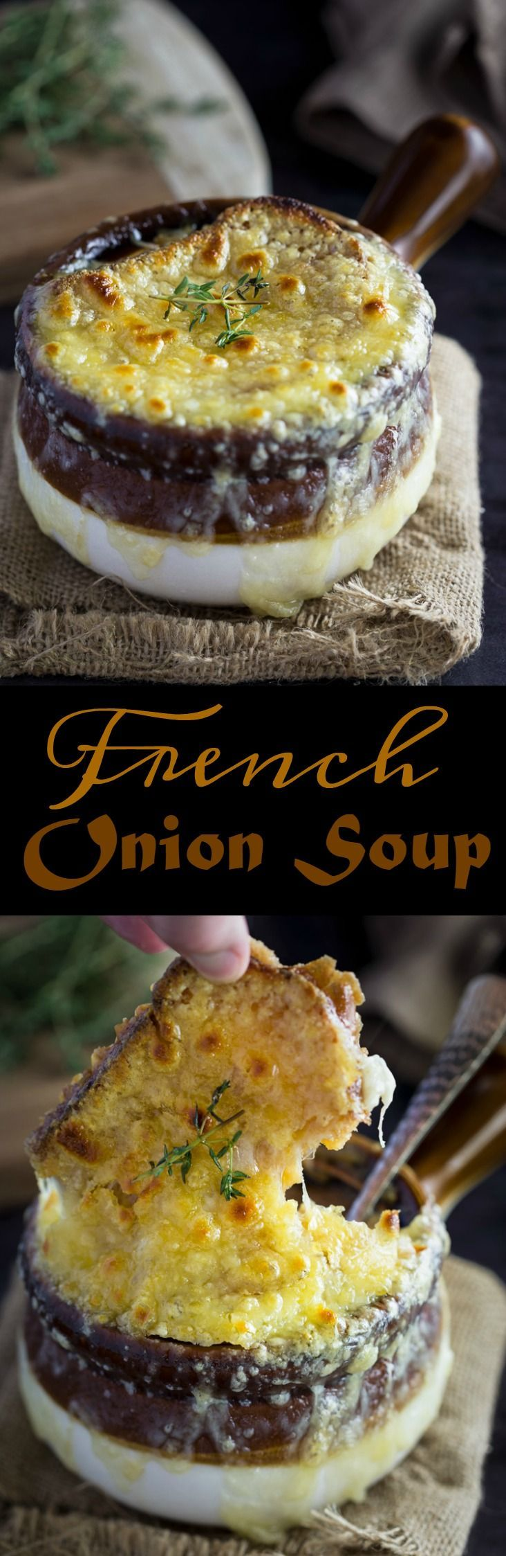 This classic French Onion Soup has a rich, silky broth made from thinly sliced onions, butter, white wine, beef broth, fresh thyme and bay leaves. All topped with a toasted baguette and hot, bubbly Gruyere cheese.