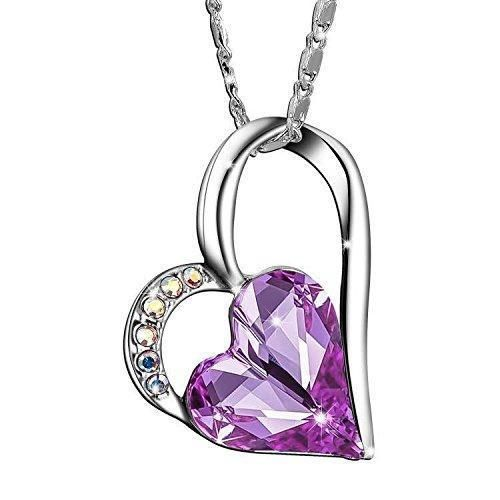 Mothers Day Necklace Charm Special Mom Gift Chain Jewelry Purple Heart Silver  #SIVERY