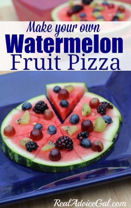 Make your own watermelon pizza. A tasty summer snack!