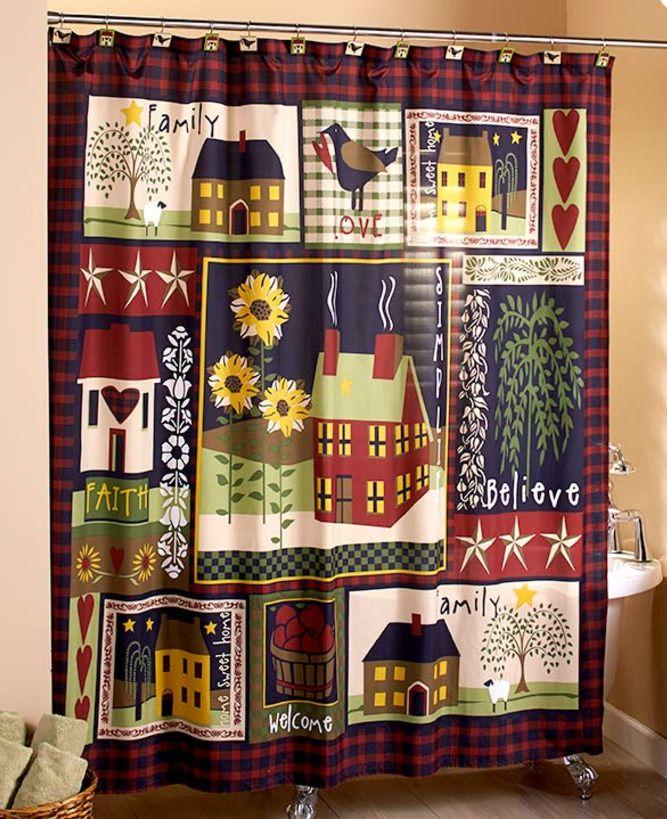 Rustic Primitive Shower Curtain Fabric Bathroom Decor Idea Country Hearts Stars    Home & Garden, Bath, Shower Curtains   eBay!