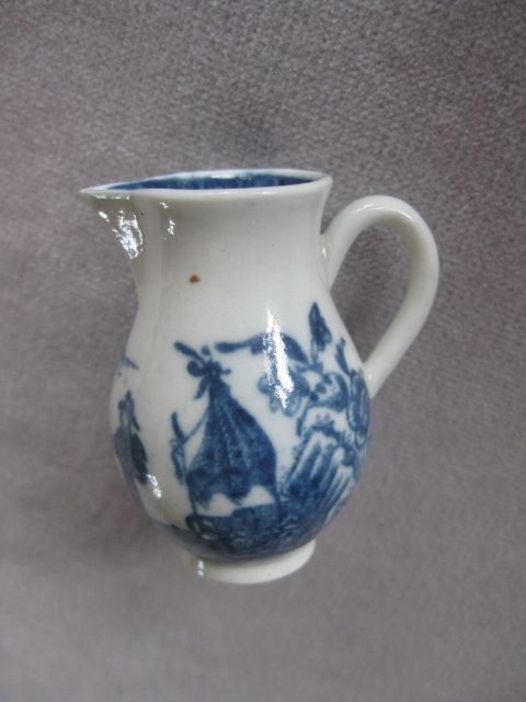 "A rare miniature Caughley sparrow beak jug printed with the ""Fisherman"" pattern.  S mark   Circa 1775 Height 2 """