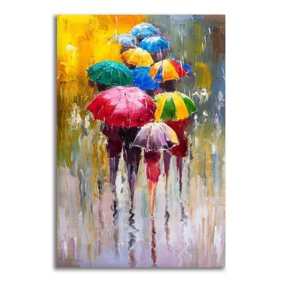 Abstract Painting Of Multicolor Umbrellas On Canvas Obrazy Abstrakcyjne Obrazy I Malarstwo