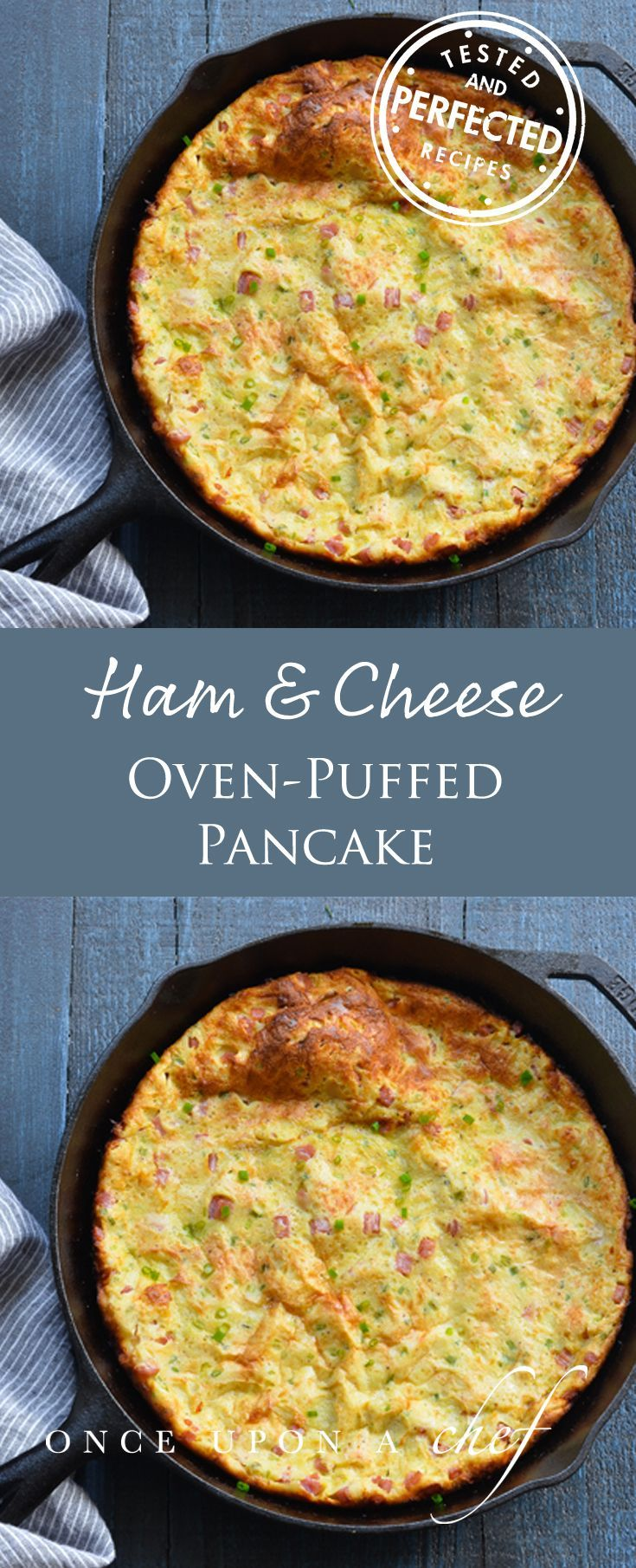 Ham & Cheese Oven-Puffed Pancake - The inspiration for this ham and cheese oven-puffed pancake comes from my latest cookbook crush. I've kept the French theme and added a spoonful of Dijon, some chopped ham, grated Gruyere, and chives to make it a bit more substantial. So you can serve this version as a light dinner with mixed greens, too! #breakfast #dinner #dinnertime #delicious #frenchfood #testedandperfected