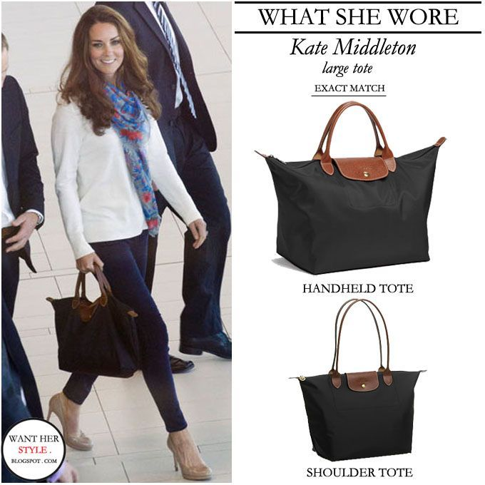 WHAT SHE WORE: Kate Middleton with Longchamp Le Pliage black tote with  leather straps #