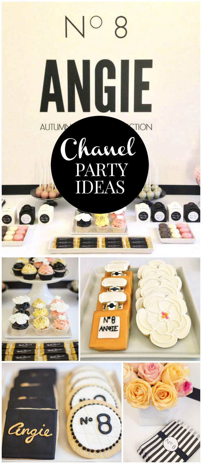 This Chanel party is so gorgeous! Check out the amazing dessert table! See more party planning ideas at CatchMyParty.com!