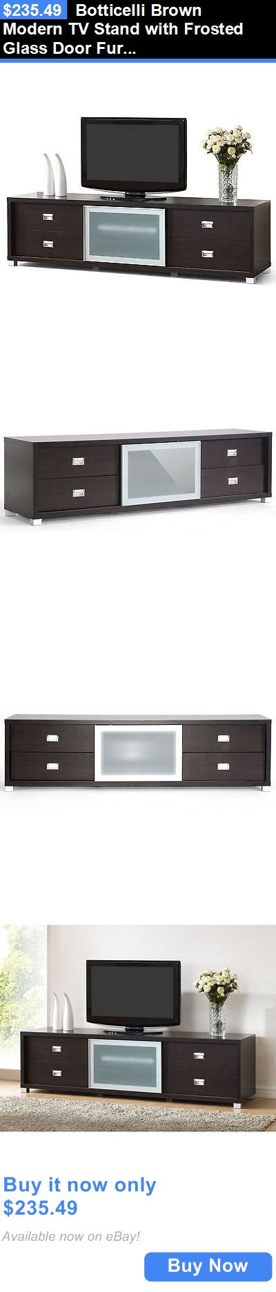 Entertainment Units TV Stands: Botticelli Brown Modern Tv Stand With Frosted Glass Door Furniture Home Media BUY IT NOW ONLY: $235.49