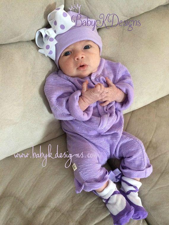 Newborn Cotton Hospital Hat / Newborn Baby Girl Beanies / Bow Beanie / by #BabyKDesigns www.babykdesigns.com