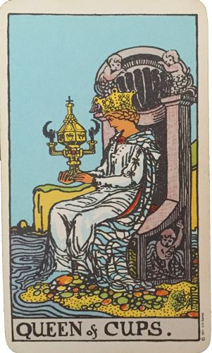The Queen of Cups from the Rider Waite Smith. Listen to your inner voice and learn to trust your intuition. #tarot