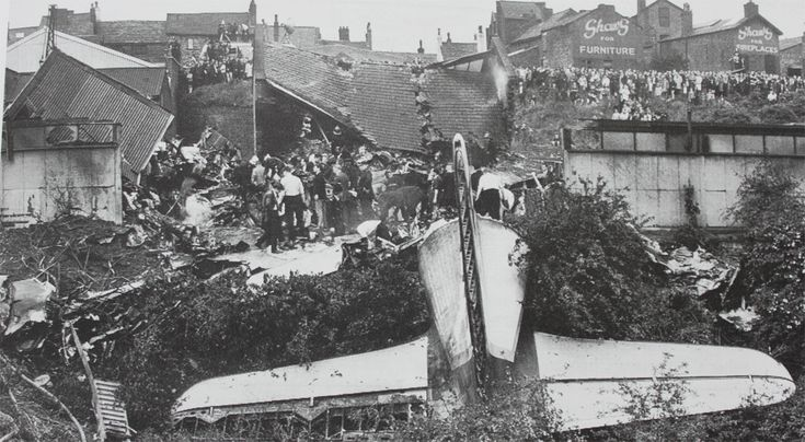4 June 1967 – British Midland Airways Canadair C-4 Argonaut G-ALHG crashed at Stockport, Cheshire whils on approach to Ringway Airport, Manchester. 72 of 84 killed.