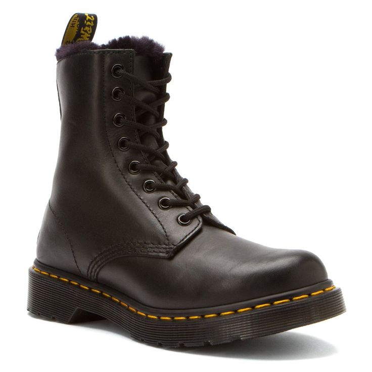Dr. Martens Women's Serena Boot,Black Cartagena,6 UK/8 M US. Dr. Martens' signature silhouette is warmed up for winter with a fuzzy, faux fur lining.
