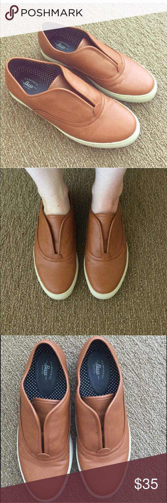 """Bass slip on leather sneakers Bass """"escapade"""" slip on leather sneakers, beautiful tan/brown leather. EUC. True size 8, very comfy. Bass Shoes Flats & Loafers"""