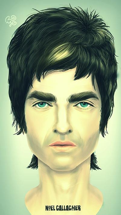 Noel Gallagher Paint by Carlos Roye, via Behance