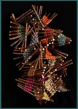 Sticks is a wall-hanging woven sculpture by basket artist Tina Puckett