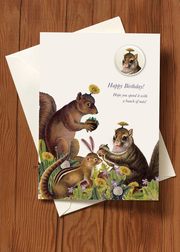 Happy Birthday! Squirrel Greeting Card with Button