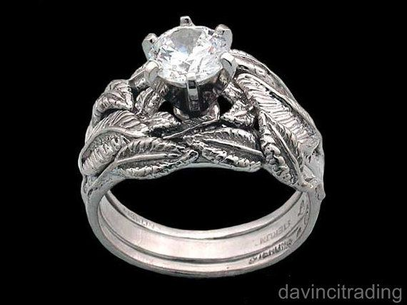 Nenya Galadriel Elven Ring of Power Replica with 2 Tracer Bands for Wedding Engagement Lord of the Rings