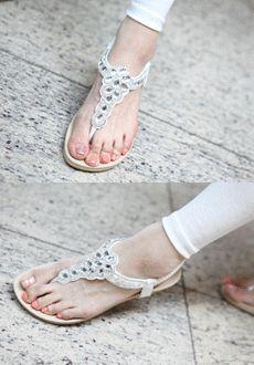 Jeweled Ankle Strap Sandals  SFSELFAA0014019