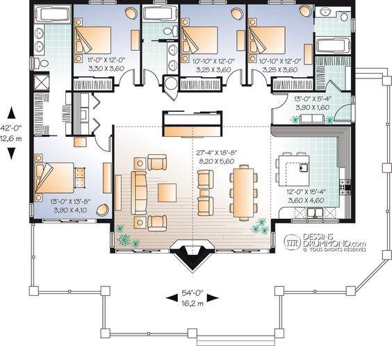 Classique champ tre bordure de lac chalet for Pre drawn house plans