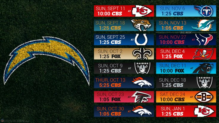 San Diego Chargers 2016 HD Schedule Wallpapers