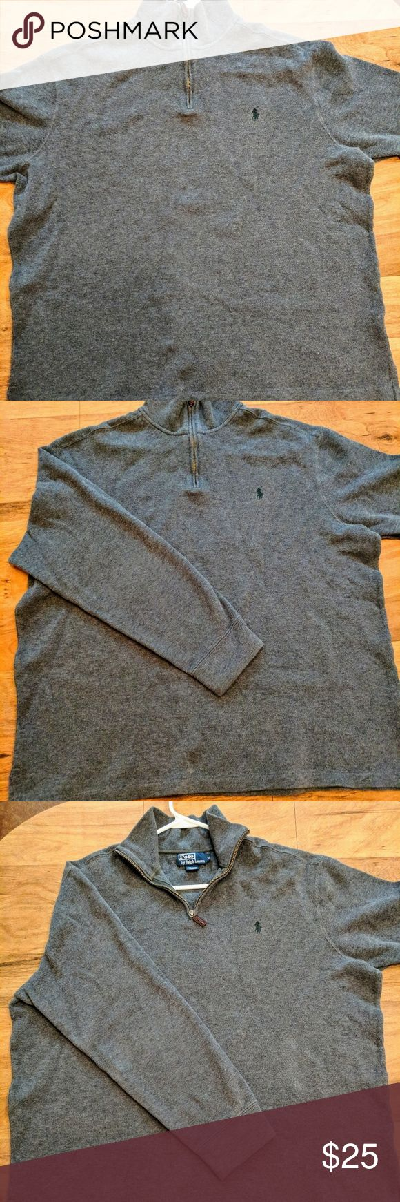 Polo Ralph Lauren Pullover Sweater!  Mens XL Men's XL Polo Ralph Lauren pullover zip sweater.  Beautiful gray color and perfect condition!    Sweater may or may not have been previously worn, but is in perfect condition!     Follow AZvintageSport on Instagram @AZvintageSport Polo by Ralph Lauren Sweaters Zip Up