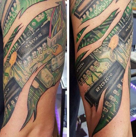 Futuristic Guys Ripped Skin 3d Circuit Board Arm Tattoo