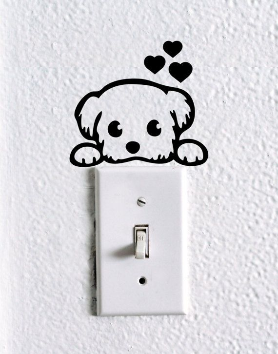 dog light switch decal   dog stickers  pet decal art  kids