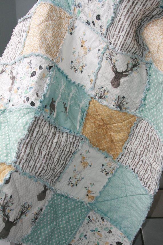 Crib Rag Quilt Gender Neutral Crib Bedding Woodland Nursery Blue Yellow, Baby Boy Crib Bedding, Girl Crib Bedding