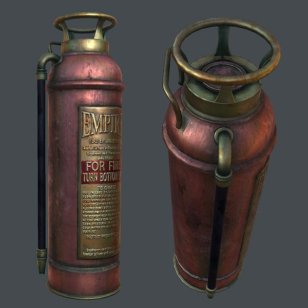 Good metal texturing by Soni Kumari http://cgi.tutsplus.com/tutorials/create-a-game-ready-fire-extinguisher-with-3d-studio-max-part-5--cms-20832