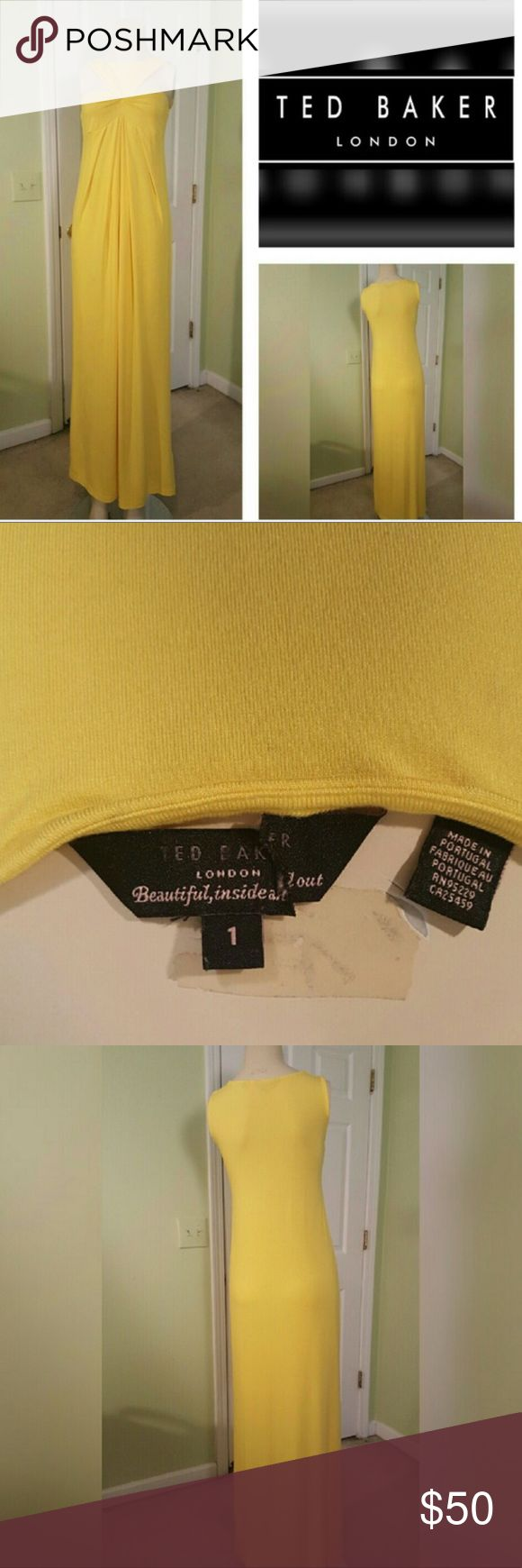 Ted Baker London Oro Yellow Maxi Dress Purchased from sample sale and never worn. US size 4 Ted Baker London Dresses Maxi