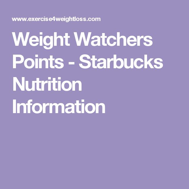 Weight Watchers Points - Starbucks Nutrition Information