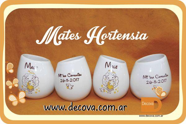Mates Comunion Mates hortensia decorados a dos colores. totalmente personalizados con el dibujo que vos quieras... #mates #souvenirs #regalos #comunion #decova #15años #casamientos