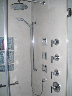 Kohler Shower With Three In Wall Adjustable Body Sprays   Similar To Ours  With Slide Bar