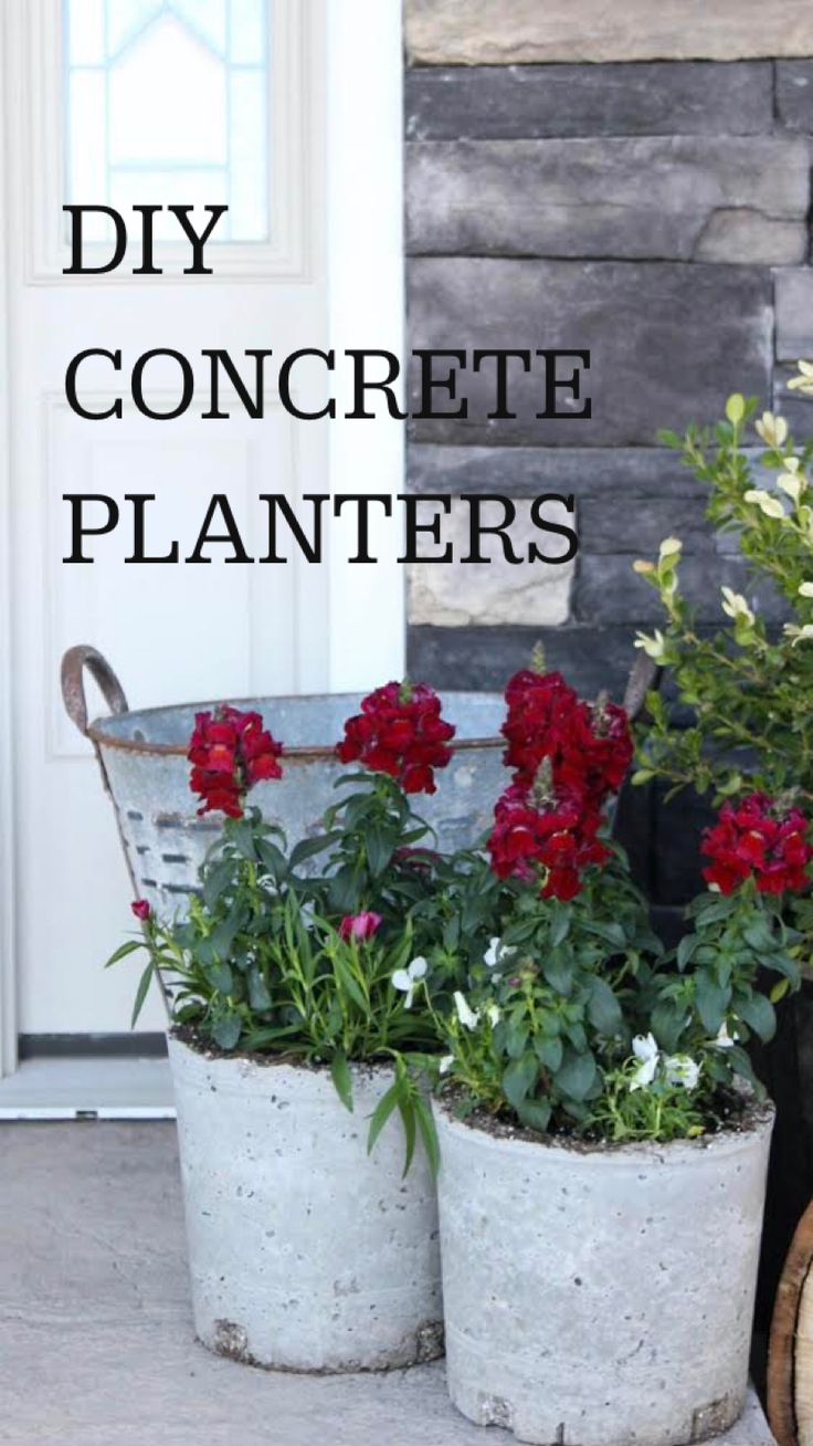 Diy Concrete Planters, Diy Planters Outdoor, Outdoor Flowers, Garden Planters, Planter Pots, Outdoor Balcony, Potted Plants For Patio, Outdoor Projects, Garden Projects