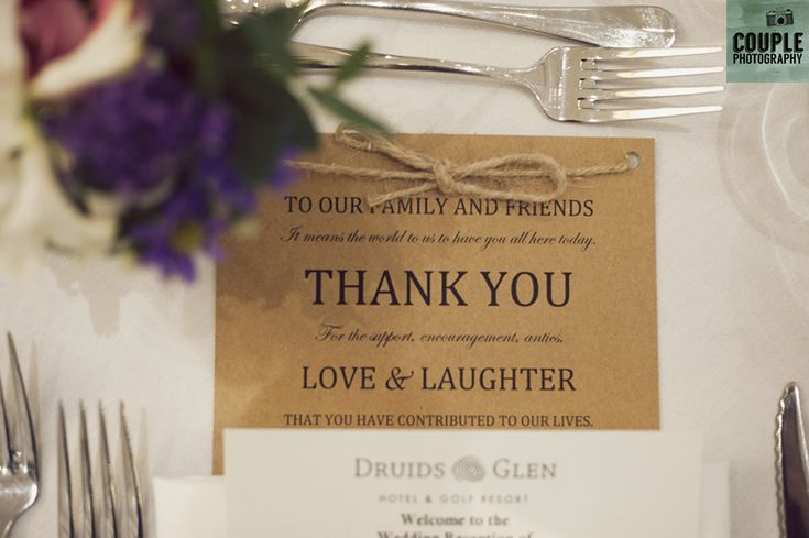 A thank you from the bride & groom. Weddings at Druids Glen Resort by Couple Photography.
