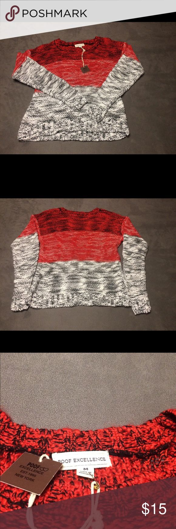 NWT Poof Excellence woven sweater NWT Red, white & black woven sweater. Size Medium. Poof Excellence Sweaters Crew & Scoop Necks
