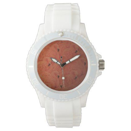 Tropical Pink Flamingos Sporty Watch - trendy gifts cool gift ideas customize