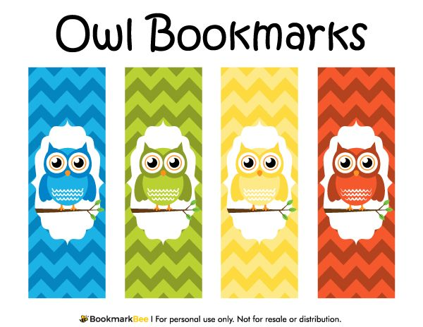 Free printable owl bookmarks. Download the PDF template at http://bookmarkbee.com/bookmark/owl/