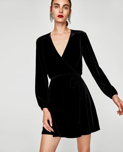 VELVET MINI WRAP DRESS-View all-DRESSES-WOMAN | ZARA United States