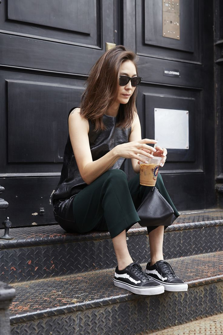 Jayne Min - Iced latte, shades, tunic leather top, trousers and Vans. Almost too cool!