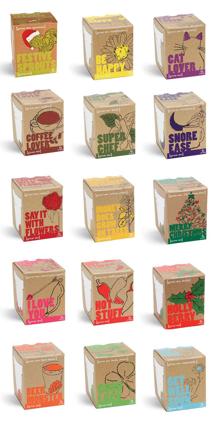The Grow Me range was created as an introduction to our growing products, offering a low price point gift that was easy to merchandise for our customers, and a nice 'stocking filler' for consumers. Our in house designers created the illustrations using mono printing applied to craft paper. Each product within the range uses a different single added colour to compliment the illustrations and giving them each their own personality.    Designed by Gift Republic