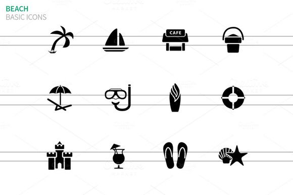 Beach icons on white by Brothers Good on @creativemarket