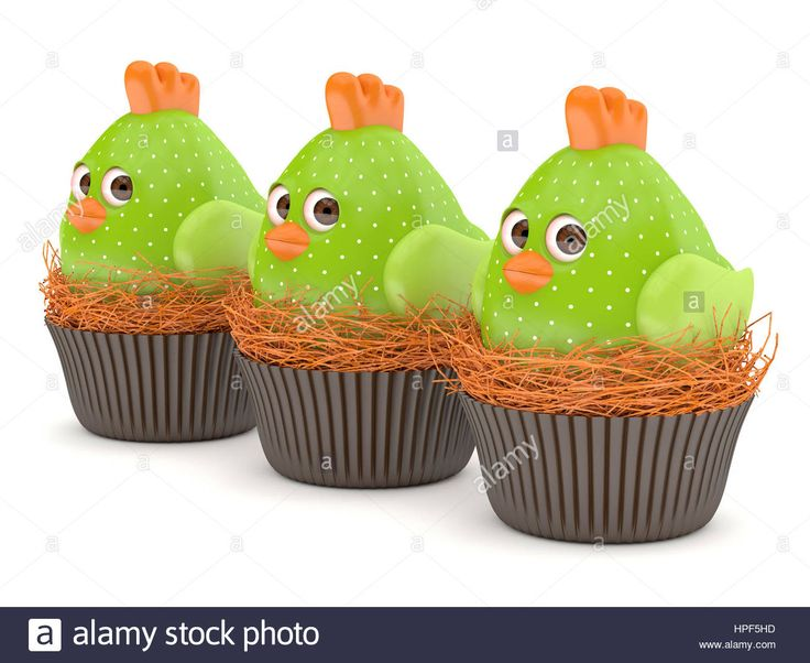 Download this stock image: 3d render of Easter chicks in nests isolated on white background - HPF5HD from Alamy's library of millions of high resolution stock photos, illustrations and vectors.