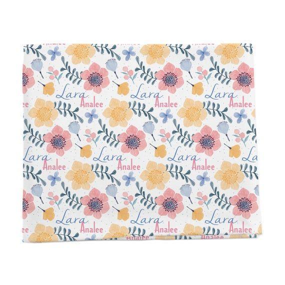 Çiçek Desenli Kişiselleştirilmiş Kundak Battaniyesi // Lara'nın Peri Çiçekleri // Bebek Hediyeleri // Yenidoğan P